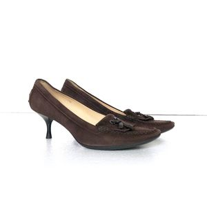 😍 Tod's Brown Leather Loafer Heels